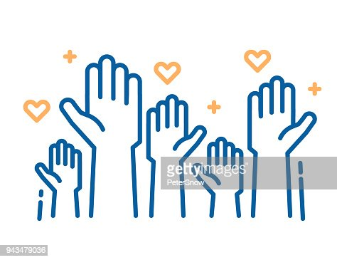 Volunteers and charity work. Raised helping hands. Vector thin line icon illustrations with a crowd of people ready and available to help and contribute. Positive foundation, business, service. : Vector Art