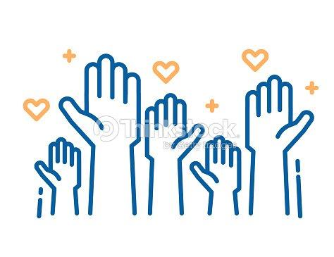 ボランティアやチャリティー活動。救いの手を発生します。準備と貢献を助けると利用可能な人々 の群衆の中に細い線のアイコン イラストをベクトルします。肯定的な基礎、ビジネス、サービス。 : ベクトルアート