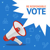 Vote Concept Card with Loudspeaker and Thin Line Icons on a Blue Megaphone Symbol of Advertising. Vector illustration