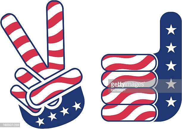 Vote! Main de la paix et de la victoire et les pouces en l'air