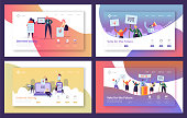 Voting Elections Landing Page Template Set. Business People Characters Internet Voting, Political Meeting Concept for Website or Web Page. Vector illustration