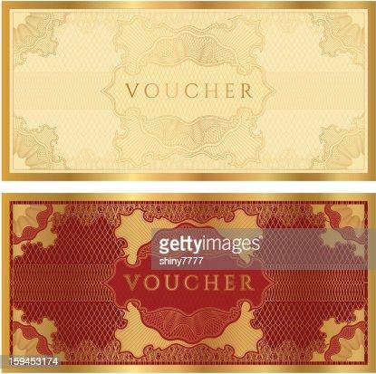 Voucher Coupon Gift Certificate Template Vector Art – Money Voucher Template