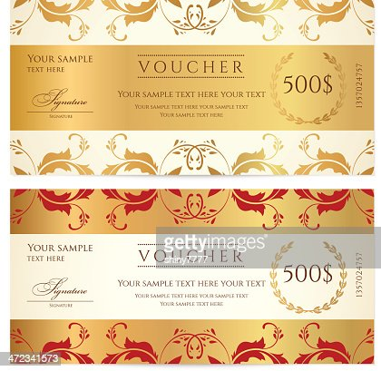 Voucher Gift Certificate Coupon Template With Floral Swirl Scroll