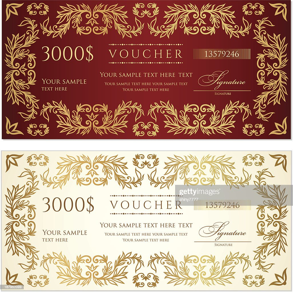 Voucher (gift Certificate) Template (banknote, Money, Currency, Cheque,  Check