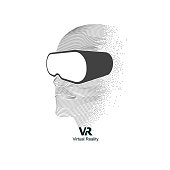 concept of virtual reality technology, graphic of digital man with vr glasses