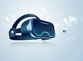 realistic vr headset for decoration or infographics, concept of virtual reality technology