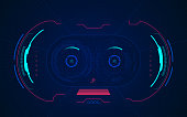 concept of virtual reality or VR technology, point of view from VR glasses digital interface