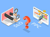 SEO vs PPC flat isometric vector concept. Comparison pay per click and search engine optimization marketing.