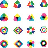 Various shapes in sets. One represents the RGB color mode and the other represents the CYMK color mode.