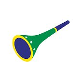 Vuvuzela trumpet icon in isometric 3d style on a white background