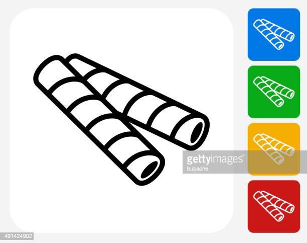 Oblea de iconos plana diseño gráfico de barras