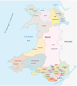 wales administrative and political vector map