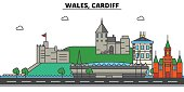 Wales, Cardiff. City skyline: architecture, buildings, streets, silhouette, landscape, panorama, landmarks. Editable strokes. Flat design line vector illustration concept. Isolated icons