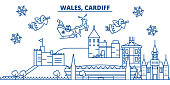 Wales, Cardiff winter city skyline. Merry Christmas, Happy New Year decorated banner with Santa Claus.Winter greeting line card.Flat, outline vector. Linear christmas snow illustration