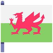 Wales flag vector illustration in flat color design