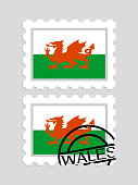 Welsh flag on postage stamps