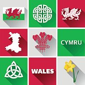 Vector graphic icons and images representing Wales