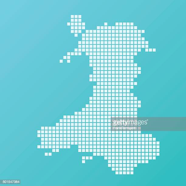 Wales Map Basic Square Pattern Turquoise