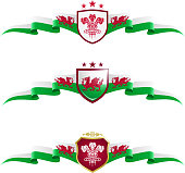 Vector graphic banners representing Wales