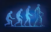 concept of technology advancement evolution, evolution of man in conceptual futuristic style