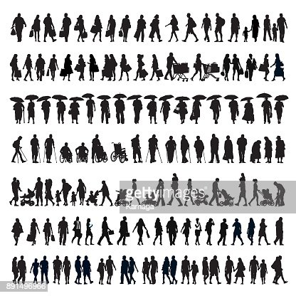 Walking people silhouette : arte vetorial