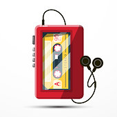 Walkman Vector Symbol. Retro Music Player with Audio Cassette.