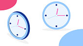 Wall Clock. Clock in isometric and in flat design. Vector illustration of a clock isolated on white background. Vector.