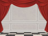Wall decorated moulding panels, checkered floor and red curtain. Vector interior background.