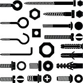 Wall hooks, bolts, nuts and wall plugs silhouette illustration