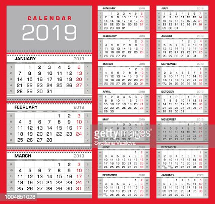 Wall Quarterly Calendar 2019 With Week Numbers Week Start From