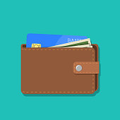 wallet with card and cash. Brown wallet with money. Concept for business,print,web sites,magazines,online shop,finance,banks. vector illustration in flat design