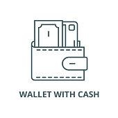 Wallet with cash vector line icon, outline concept, linear sign
