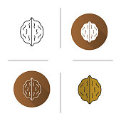 Walnut flat design, linear and color icons set