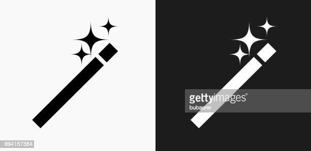 Wand Icon on Black and White Vector Backgrounds