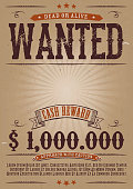 Vector illustration of a vintage old elegant wanted placard poster template, with dead or alive inscription, money cash reward as in western movies. File is EPS10 and uses multiply transparency at 100