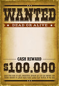 Illustration of a vintage old wanted placard poster template, with dead or alive inscription, cash reward as in far west and western movies, with grunge scratched weathered texture