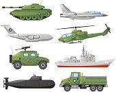 War Vehicles, with tank, war plane, war air craft, war missile air craft, helicopter, transporter, ship, war ship, war submarine, war cargo truck. Vector illustration.