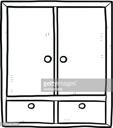 Wardrobe clipart black and white  Wardrobe Cartoon Outline Vector Art | Thinkstock