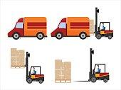 Warehouse illustration of loader truck loading cardboard boxes