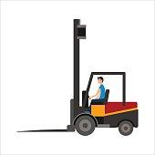 Warehouse illustration of loader truck