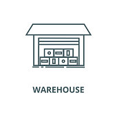 Warehouse illustration vector line icon, outline concept, linear sign