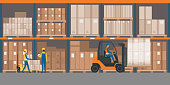 Warehouse interior with goods, pallet trucks and industrial workers