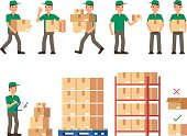isolated, delivery, truck, white, warehouse, business, pallet, shipping, logistic, vector, wholesale, storehouse, stack, pile, cardboard, stock, service, supply, distribution, report, people, shelf, r