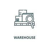 Warehouse vector line icon, outline concept, linear sign