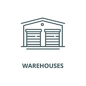 Warehouses vector line icon, outline concept, linear sign