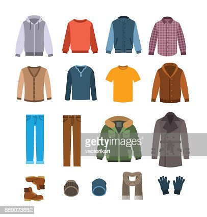 Warm casual clothes for men vector icons : stock vector