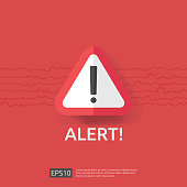 warning alert sign with triangle exclamation mark symbol. hazard disaster attention protection icon or vpn internet safety alert concept vector illustration.