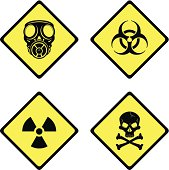 A vector illustration of warning and danger signs and symbols.