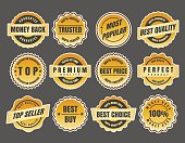 Warranty and guarantee labels. Money black stickers and best price emblems vector illustration