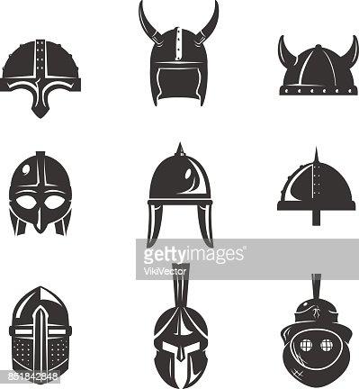Warrior helmet flat icon set : stock vector